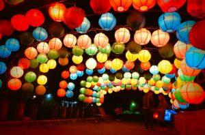 Lampion Warna Warni Di Taman Pelangi